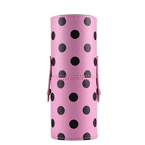 Vovotrade® Custodia In Pelle Cosmetici trucco Portable Storage sacchetti dell'organizzatore pennello tazza titolare (rosa (Titolare Di Pennelli Di Trucco)