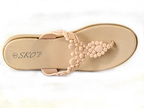 SKO'S , Damen Zehentrenner Beige (US408)