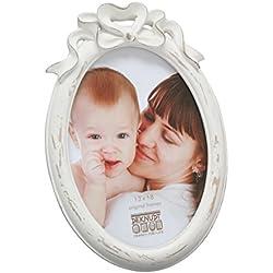 Deknudt Frames S66PE1 Cadre Photo Ovale avec Noeud Blanc 13 x 18 cm