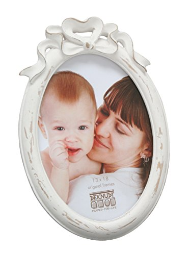 Deknudt Frames S66PE1-10.0X15.0 - Cornice portafoto di forma ovale, con fiocco bianco, 21 x 14,5 x 3,2 cm