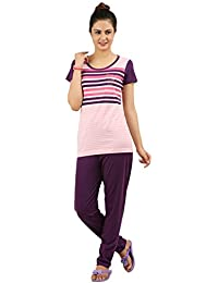 New Darling Womens Multi Coloured Stripes Top & Pyjama Set