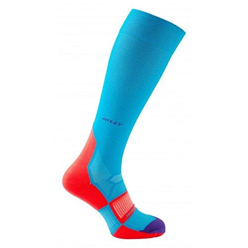 Hilly Damen Pulse Compression Sock Teal/Fluo Pink/Purple, Größe S