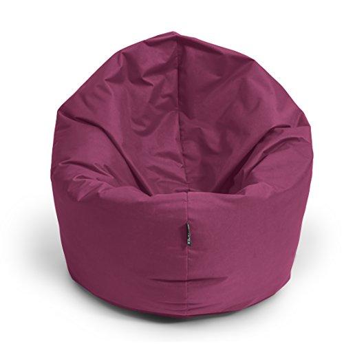 BuBiBag Sitzsack L - XXL 2 in 1 mit Füllung Sitzkissen Topfenform Bodenkissen Kissen Sessel BeanBag (125 cm Durchmesser, weinrot) (L Sitzsack)