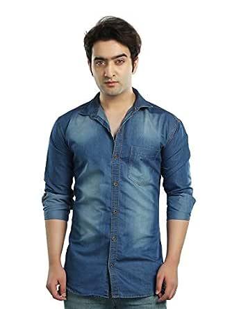 Kandy Men's Casual Shirt (SHIRT-CL-DENIM-L-S--S, Blue, Small)