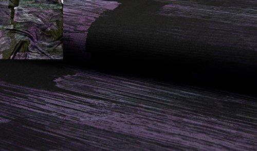 Fabrics-City SCHWARZ/LILA BEDRUCKT STRETCH CHIFFON MESH NETZSTOFF NETZ STOFF STOFFE, 4460