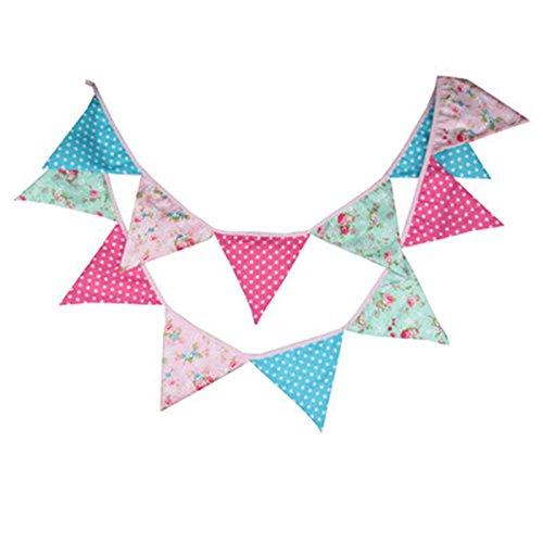 Dosige Schöne Dreieck Wimpel Bunting Farbenfroh Wimpel Wimpeln Wimpelkette auf Baumwolle Fahnen Banner für Weihnachts Hochzeit Geburtstag Party Dekor Rosa-Blau (Banner Wimpel Rosa)