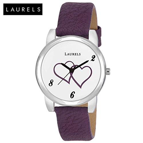 Laurels February White Dial Analog Wrist Watch - For Women