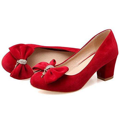 TAOFFEN Femmes Chaussures De Talons Moyen Mode Bloc A Enfiler Fete Escarpins De Bowknot Rouge