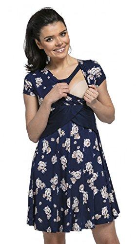*Happy Mama. Damen 2in1 Umstands gerafften Stillkleid Skaterkleid Kurz Ärmel 605p (Marine mit Blumen, EU 42, XL)*