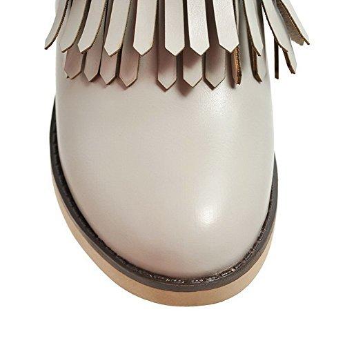 Voguezone009 Femmes Brillant Tissu Fixer Bout Rond Talon Moyen Bottes Gris Pur