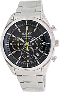 Seiko - SSB087P1 - Montre Homme - Quartz Chronographe - Cadran Noir - Bracelet Acier Gris