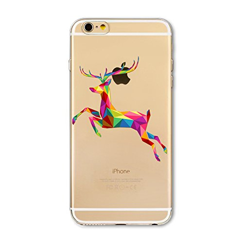 Christmas Hülle iPhone 7 / iPhone 8 LifeePro Weihnachts Cover Ultra dünn Weiches Transparent TPU Gel Silikon Handy Tasche Bumper Case Anti-Scratch Back Cover Full Body Schutzhülle für iPhone 7 / iPhon Colorful Deer