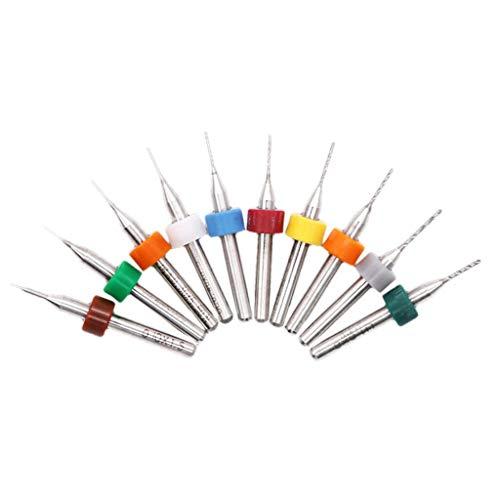 Ouneed - 10 Stück PCB Micro Spiralbohrer Metallbohrer Satz 0,1-1,0mm Dick Griff Wolframstahl Carbide Dremel Stich- Bohrer Bohrer Bit Set Spiralbohrer für Leiterplatte Gravierwerkzeuge