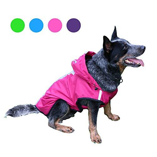 Groß Und Hoch Kapuzen-jacke (SENYEPETS Wasserdichter Hunde-Regenmantel, leicht verstaubare Jacke mit reflektierenden Streifen für hohe Sichtbarkeit, verstellbare Kapuze, Poncho für kleine mittelgroße und große Hunde, XXL, rot)