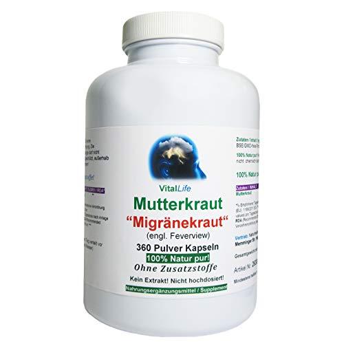 """Mutterkraut""""Migränekraut"""" 360 Pulver Kapseln Natur Pur NICHT hochdosiert KEIN Extrakt OHNE Zusatzstoffe OHNE Füllstoffe. Hergestellt und abgefüllt in Deutschland. 26308"""