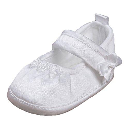 Festliche Taufschuhe Babyschuhe Ballerinas Satin Weiß Gr. 17 Modell 3580-w -