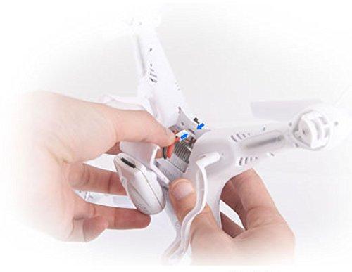 Syma X5C Explorer 2.4 GHz 4-Kanal 3D Quadrocopter Drohne mit Zusatzakku, 360° Flip Funktion, 3.6 MP HD Kamera mit Ton, Motor-STOPP Funktion, 6AXIS Stabilization System, 4GB Micro-SD Speicherkarte und AGETECH SafeFly Sonnenbrille, Weiß - Sonder-Edition - 8