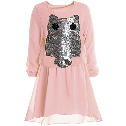 BEZLIT Mädchen Kinder Spitze Frühlings Kleid Peticoat Festkleid Lang Arm Kostüm 20997 Rosa Größe 140