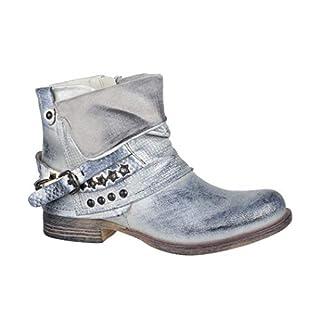 Elara Damen Stiefeletten Biker Boots mit Nieten Chunkyrayan BZ8399-KB Silver-39