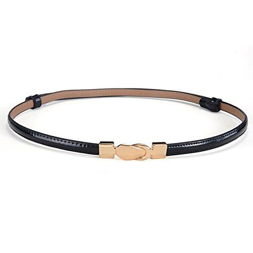 Patent Leder Schnalle Gürtel (Dame,dekorative rock belt hunderte von patent-leder,einfacher schmaler gürtel-F 97cm(38inch))