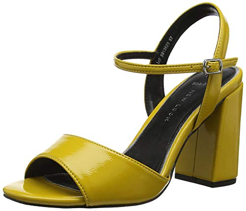 New Look Wide Foot Timothy, Scarpe col Tacco Punta Aperta Donna, Giallo (Dark Yellow 87), 37 EU
