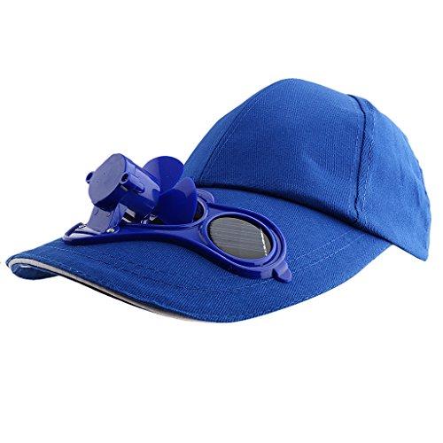 Sharplace Solarventilator Hut Kappe Solar Baseball Cap mit Mini-Ventilator Outdoor Sport Golf Sonnenhut - Blau