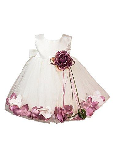 BIMARO Baby Mädchen Babykleid Vivien creme beige Taufkleid Kleid festlich rosa Blüten Tüll Satin Taufe Hochzeit Weihnachten, Größe:86/92 (Satin, Tüll, Kleid Taufe)