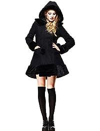 Negro Hell con figura de conejo Sarah Jane abrigo de piel de invierno chaqueta XS S M L XL 810121416
