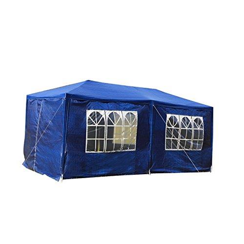 Lars360 3 x 6m blu tenda esterno tenda da giardino padiglione tenda birra tenda gazebo con 6 pareti laterali, 4 finestre, 2 porte con cerniera, copertura pe impermeabile