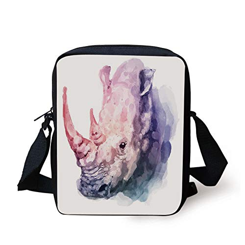 Watercolor Decor,Gradient Paintbrush Style Tropical Animal Rhino Safari Artful Paint Print,Lilac Pink Print Kids Crossbody Messenger Bag Purse (Guns Ball Pink Paint)