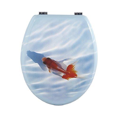 Carpemodo WC Deckel WC Sitz / Scharniere verchromt / Material Holz MDF / edles und modernes Design als Fotodruck / Farbe Blau / Motiv red Fish and blue Sky
