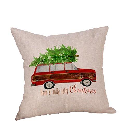 ubabamama Weihnachtsbaum und rot Auto Überwurf Kissen Bezug Home Deko Vintage-Kissen Fall Baumwolle Leinen für Sofa 45,7x 45,7cm D