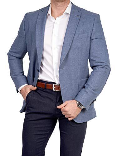 Unbekannt Herren Sakko Tweed Look Schurwolle/Polyester klassisch Reverskragen Blazer Zweiknopf Jackett Anzug Slim Fit bequem, Größe 48, blau