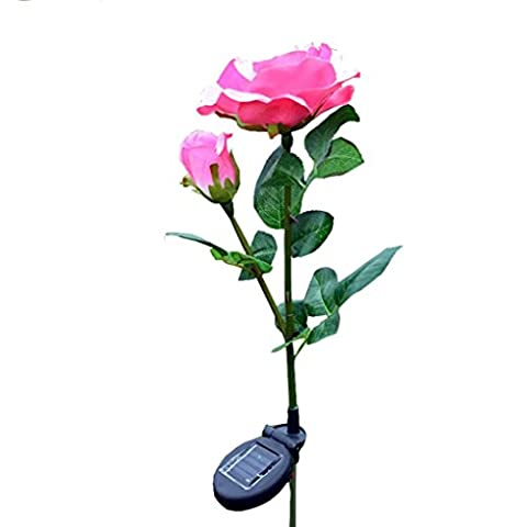 sunnymi 2 Kopf Sun Rose Licht/Solar LED Dekorative Outdoor Rasen Lampe/Gute Qualität/Automatisch Aufleuchten/ABS + Edelstahl (Rosa Wiederaufladbare Vakuum)