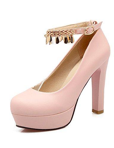 WSS 2016 Chaussures Femme-Bureau & Travail / Décontracté-Noir / Rose / Blanc-Gros Talon-Talons / Bout Arrondi-Talons-Polyuréthane pink-us9.5-10 / eu41 / uk7.5-8 / cn42