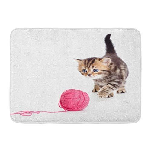 artyly Rutschfeste Fußmatten Katze-Tabby Britisches Kätzchen, das rote Clew-Kugel spielt Haustier-niedliches Tier wenig dauerhafte Teppiche 40 x 60 cm -