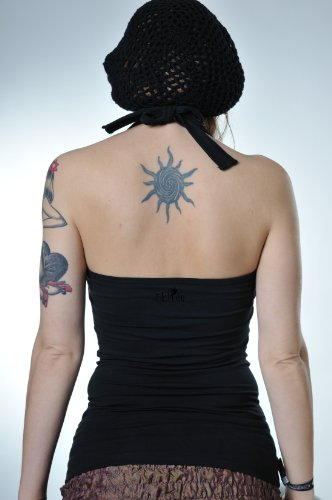 Halter Neck Top Femme avec papillon de fée de 3Elfen Noir