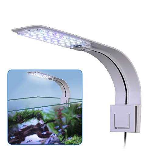 Licht, Clip-on Aquarium Lampe mit Weiß und Blau Licht, 10W LED Aquarienleuchte mit EU-Stecker, 24LEDs Fische Tank Beleuchtung Aufsetzleuchte für Aquarium, Zisternen, Steingärten ()