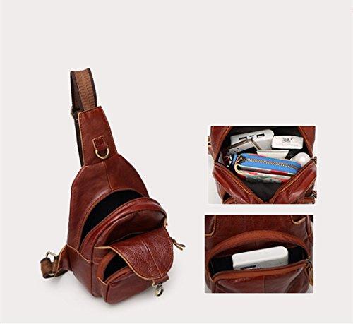 sifini Mini Echt Leder Sling Bag einfachen Stil Ungleichgewicht Brust Tasche Wandern Tasche kleiner Rucksack für Männer und Frauen coffee