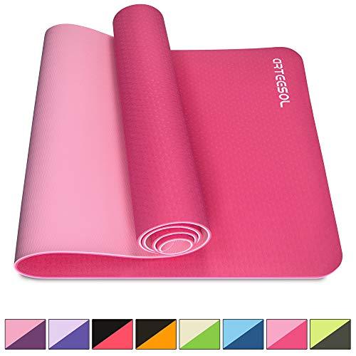arteesol Yogamatte rutschfest Gymnastikmatte Schadstofffrei TPE Naturkautschuk Dünn Yoga Matte Fitnessmatte für Yoga Pilates Fitness 183cm x 80cm x 6mm (Rosa, 183x80x0,6cm)