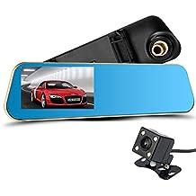 Caidi 1x Espejo Retrovisor para coche - LESHP 4.3´´ HD 1080p Doble Lentes de Cámara con Visión Nocturna