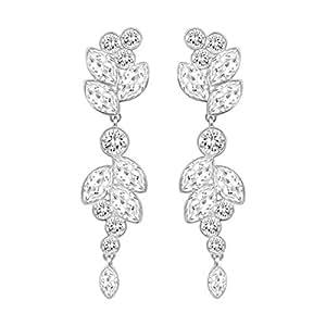 fc183f868 Swarovski Diapason Pierced Earrings, Medium, White, Rhodium plating ...