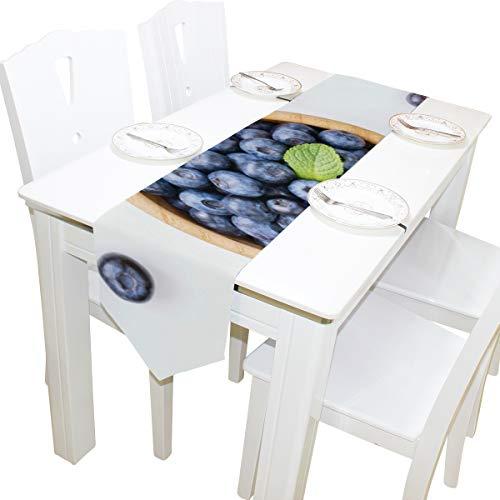 utz Blaubeeren Kommode Schal Stoffbezug Tischläufer Tischdecke Tischset Küche Esszimmer Wohnzimmer Home Hochzeitsbankett Decor Indoor 13x90 Zoll ()