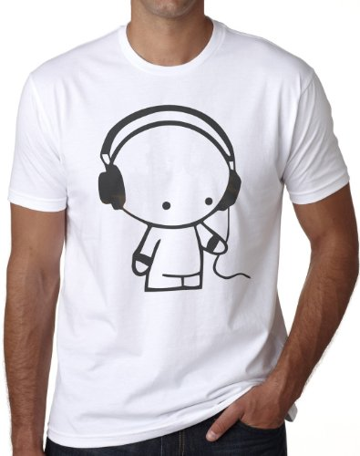 OM3 - HEADPHONE MUSIC BEATS - T-Shirt Indie Wave Turntables Underground Elektro Sound Master DJ EMO, M, Weiß
