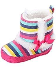 Malloom Prewalker de bebé niño infantil niñas arco iris raya nieve Botas zapatos