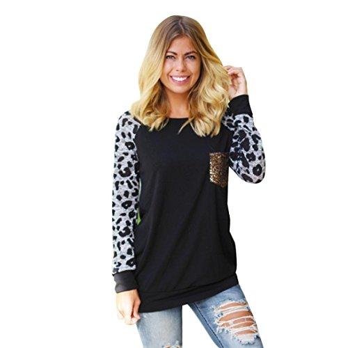 FEITONG mujeres Manga larga Estampado de leopardo blusa ocasional camisa Tops Moda camiseta (M, Negro)