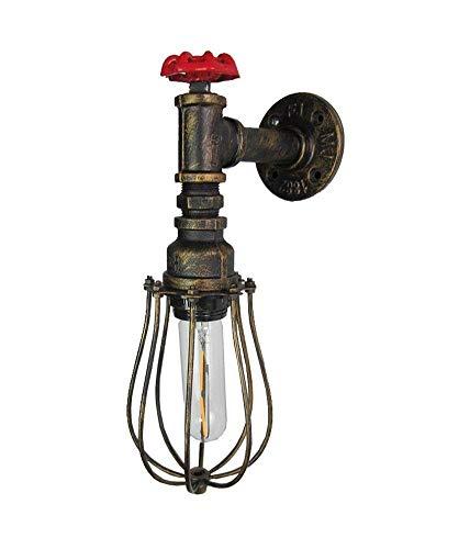 Hdmy Mit Ventil Bronze Käfig Lampenschirm Edison Lichtquellen Rustikale Vintage Wasserleitung Retro Steampunk Lange Lebensdauer Wandleuchte Wandleuchte Für Wohnzimmer Hall Home -