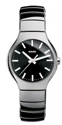Rado True Negro Dial platinum-tone cerámica Unisex Reloj r27656162por Rado