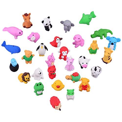 OZUAR 30 Stücke Mini Tiere Radiergummi Set für Kinder, Radierer fur Gastgeschenke als...