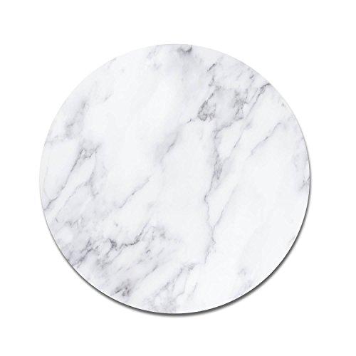 Maus-Pad Marmor I dv_313 I Ø 22 cm rund I Mouse-Pad mit rutschfester Unterlage Standard-Größe schlicht modern Art Déco Stein-Optik Granit weiß grau